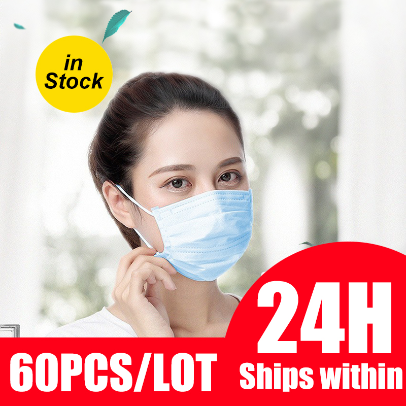60pcs Disposable Mask 3-Ply Elastic Soft Breathable Face Mouth Mask