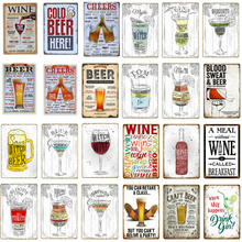 Drinks Beer Tin Signs Vintage Metal Poster Decorative Bar Metal Plate Wine Plaques Wall Sticker Iron Painting Mix Order YJ172