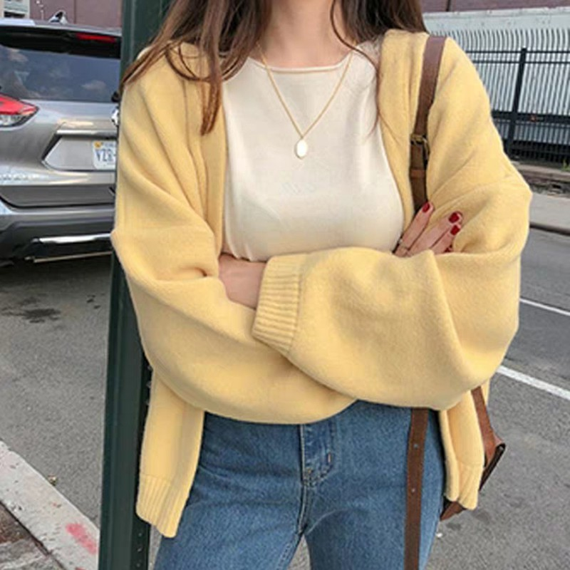 Knitted Cardigans Spring Autumn Cardigan Women Casual Long Sleeve Tops V Neck Solid Women Sweater Coat