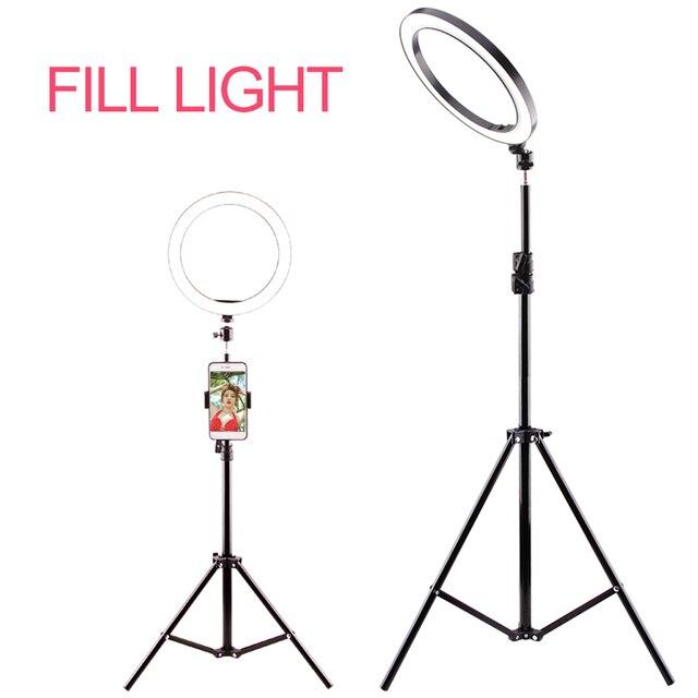 Fotografia anel luz mini led selfie luz estúdio fotografia foto luzes preencher luz 160/260mm com 10 níveis de brilho