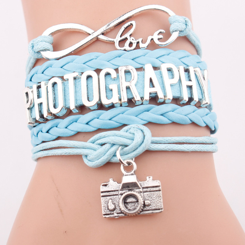 High Quality Gift for Her Him Infinity Photography Photographer Camera Charm Leather Wrap Bracelets for Women