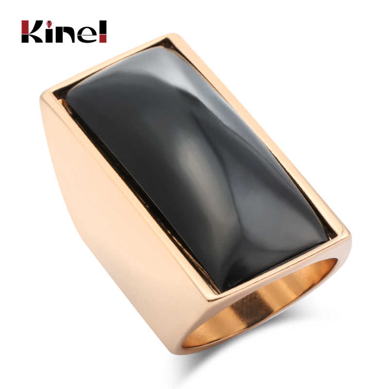 Kinel 2019 แฟชั่นสีดำแหวนทอง Punk Rock Big สี่เหลี่ยมผืนผ้าพื้นผิวแหวนเครื่องประดับ