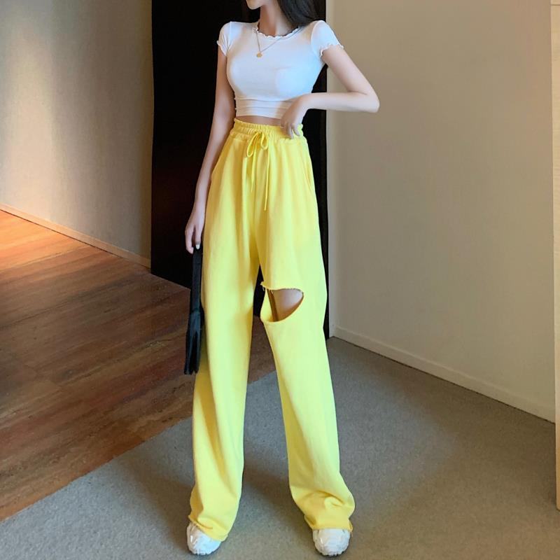 2020 Summer Two Pieces Women Set Casual Fitness Female Tank Top Bars And Hole Wide Leg Pants Pants Suit Solid Stretch Tracksuit