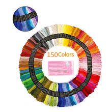 New 150pcs Mixed Color Embroidery Cotton Thread with Needle Pack Sewing Skeins