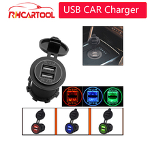 12-24V Motorcycle Dual USB Socket Charger Power Adapter Outlet Power Mobile Phone Charger with LED for Auto Car Truck ATV Boat