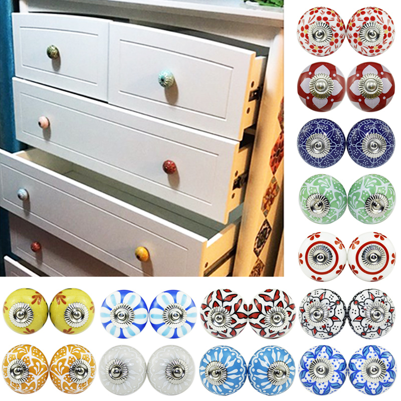 Knit Girl Pattern Ceramic Knobs Door Handle Cabinet Drawer Cupboard Pull