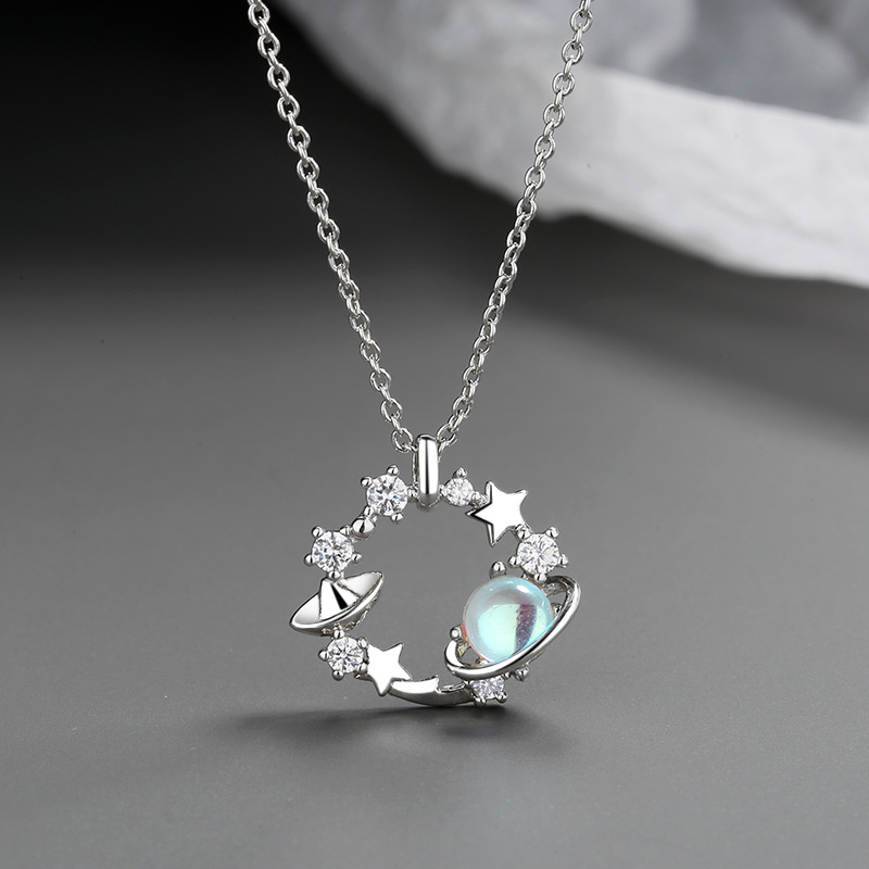 Todorova Fashion Korean Circle Round Planet Moon Pendant Necklace Women Zircon Jewelry Choker Necklace Clavicle Chain Necklace