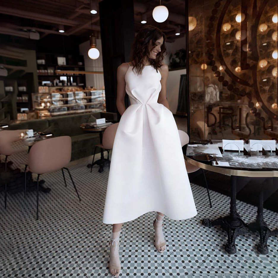 Simple Satin Tea Length Prom Dress 2020 Homecoming Dresses Sexy Backless Prom Bridal  Gown For Women Vestido De Festa