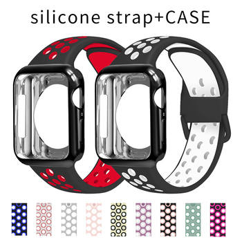 port silicone bracelet for apple watch band strap 42mm 38mm iwatch series 3 2 1 wrist belt camouflage watchband metal buckle Case+Sport Strap For Apple Watch Band 6 SE 5 44mm 42mm Soft Silicone watchband bracelet Belt for iwatch Series 4 3 2 1 38mm 40mm