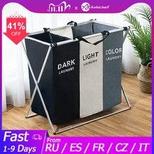 Faltbare Wäsche Korb Organizer Für Schmutzige Kleidung Wäsche Korb große sorter Zwei Oder Drei Grids Faltbare Klapp Korb
