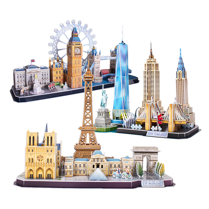 3D Puzzle Game DIY Toy Paper Miniature Model City London Paris New York Moscow Famous Building Assemble Game Toys For Kids Gifts(China)