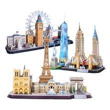 3D bulmaca oyunu DIY oyuncak kağıt minyatür Model şehir londra Paris New York moskova ünlü bina araya oyunu oyuncaklar çocuklar hediyeler
