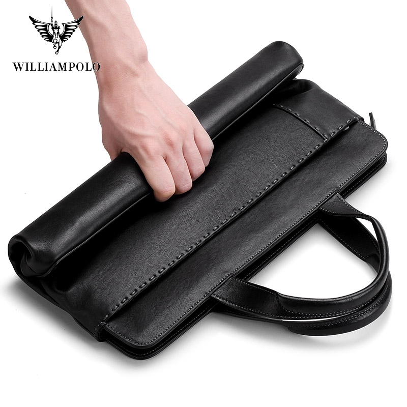 Williampolo Soft Leather Unisex Solid Waterproof Laptop Computer Bag Breifcase Sleeve Case Bag #193037