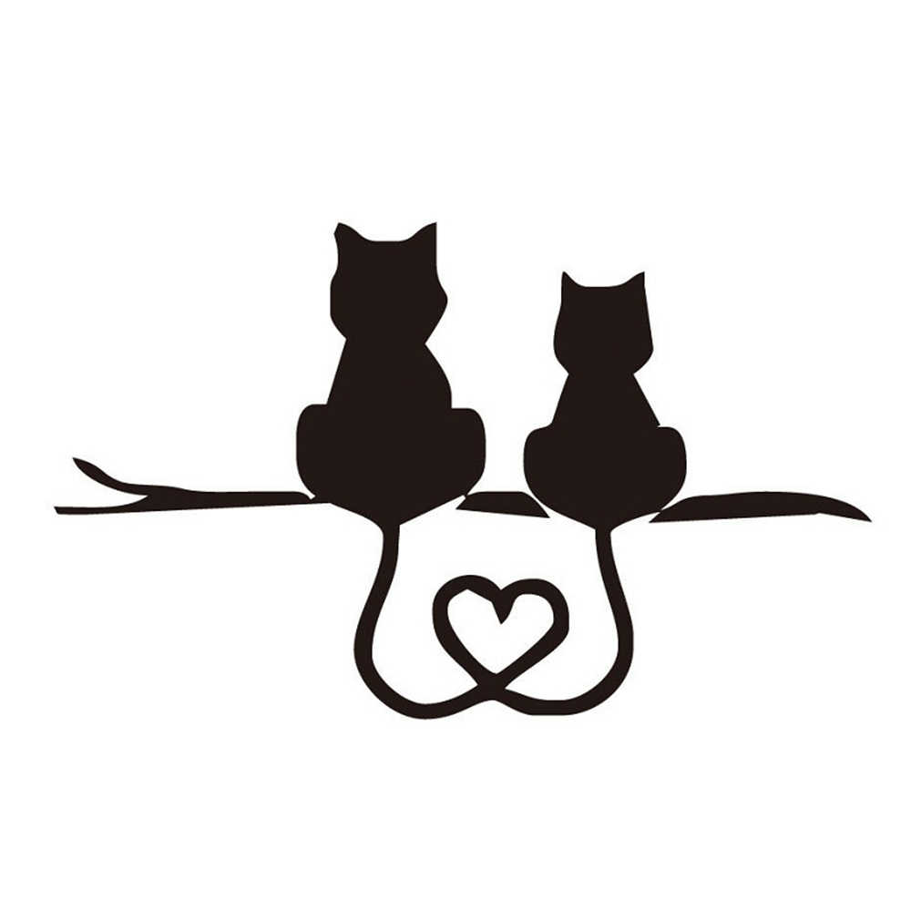 Car Styling Cartoon Funny Two Kittens LOVE Cat Reflective Stickers Car Stickers For Truck SUV Door Side Window Car Accessories