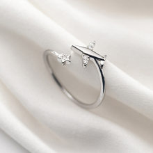 INALIS s925 silver ring female Korean version of the small fresh and lovely five-pointed star simple aircraft diamond openin(China)