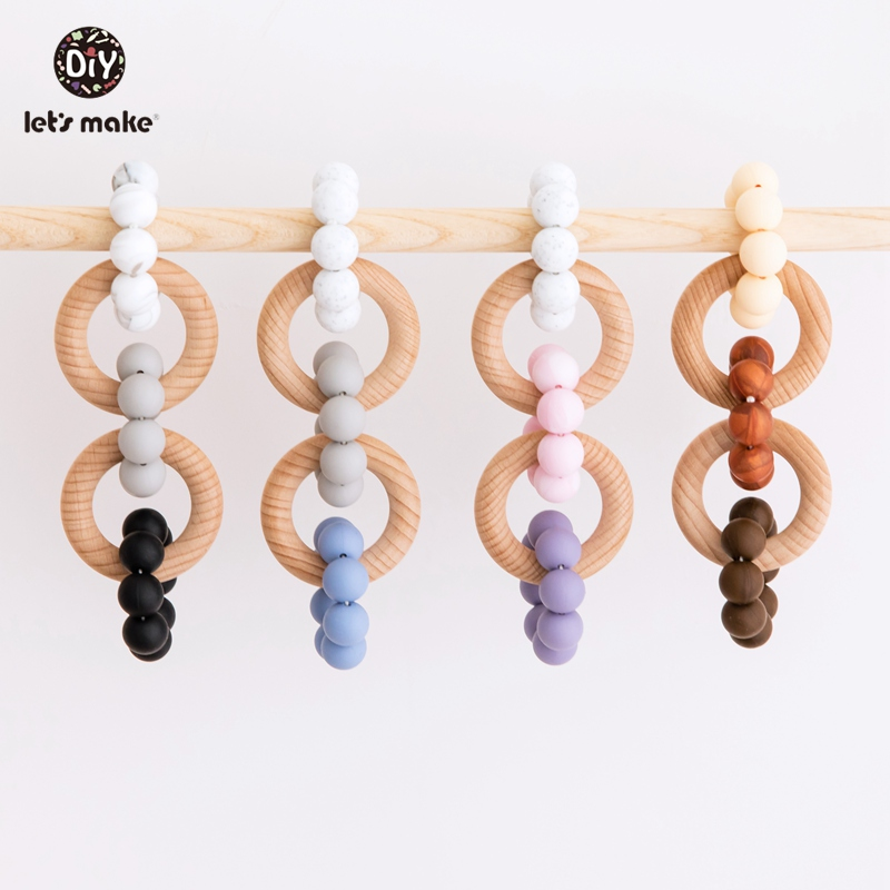 Let's Make 1pc Baby Teethers Silicone Beads Teething Toys Double Beech Wooden Teething Ring DIY Nursing Bracelet Baby Rattles