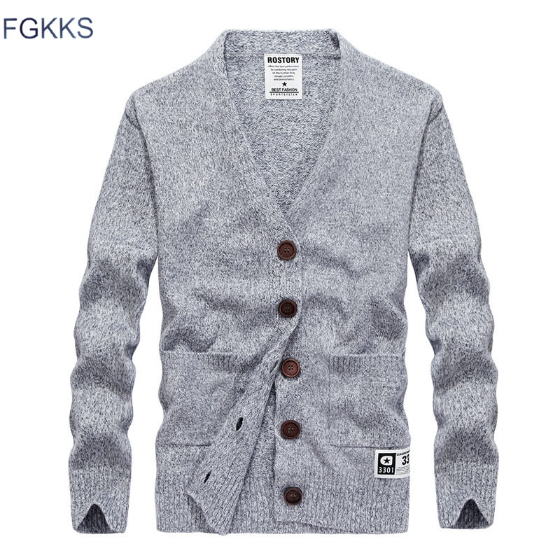 FGKKS Quality Brand Men Cardigan Sweaters Men's Solid Color Slim Fit Sweater Coat Male Fashion Casual Sweater Tops