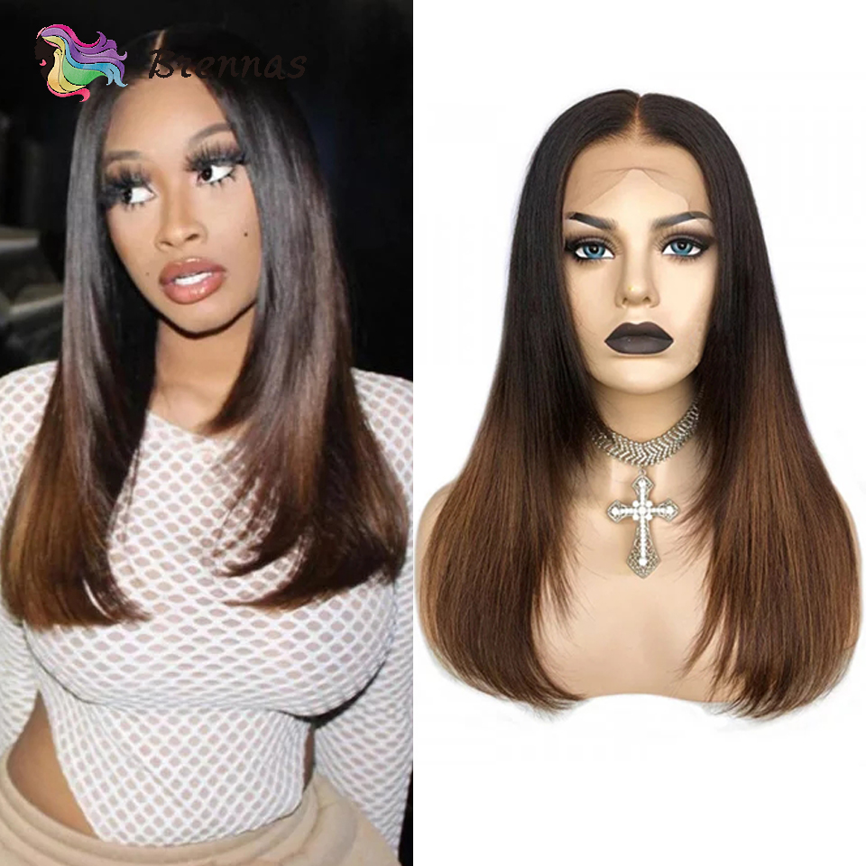 Ombre Straight Lace Front Wig Brazilian Human Hair Wig With Baby Hair 1b30 Colored 13x4 Lace Wig For Black Women Non-Remy Hair