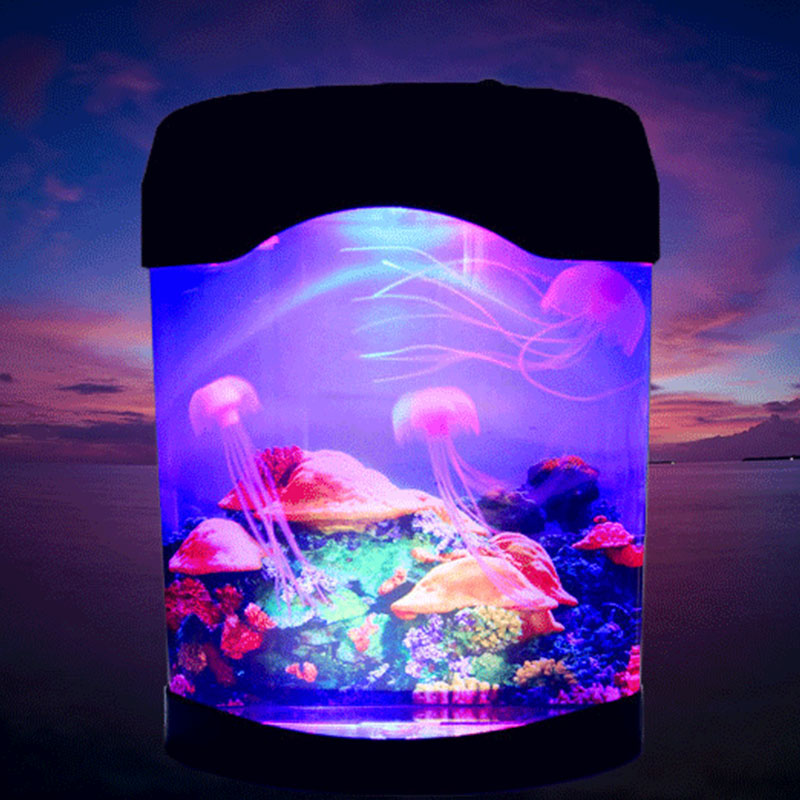 LED Synthetic Jellyfish Night Light Aquarium Christmas Decoration World Swimming Mood Light LED Colorful Aquarium Night Lights image
