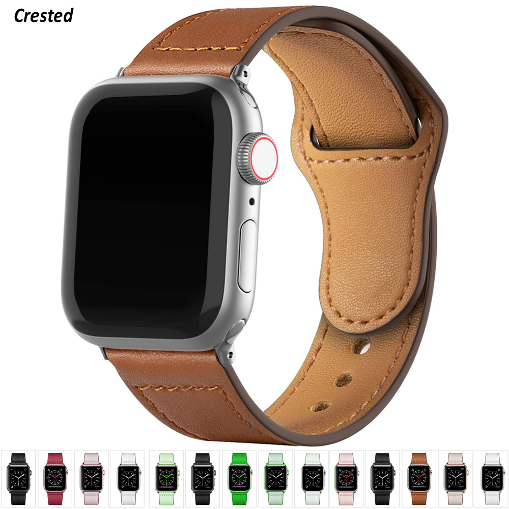 Leather strap For Apple watch band 44mm 40mm iWatch band 42mm 38mm Genuine Leather belt bracelet Apple watch series 5 4 3 2 SE 6(China)