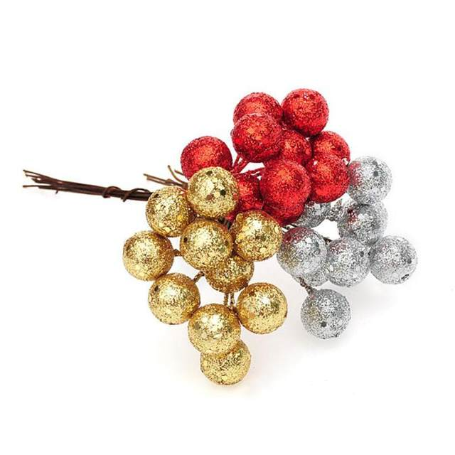 10pcs Gold And Silver Red Decorative Cuttings Christmas Fruit DIY Gift Box Decorated Wreaths Mini Artificial Flower Fruit Stamen 18