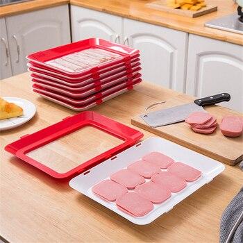 6 шт., креативный вакуумный поднос для хранения пищевых продуктов, Штабелируемый поднос для сохранения свежести, поднос для холодильника, Сервировочная тарелка для пищевых продуктов, кухонный Органайзер