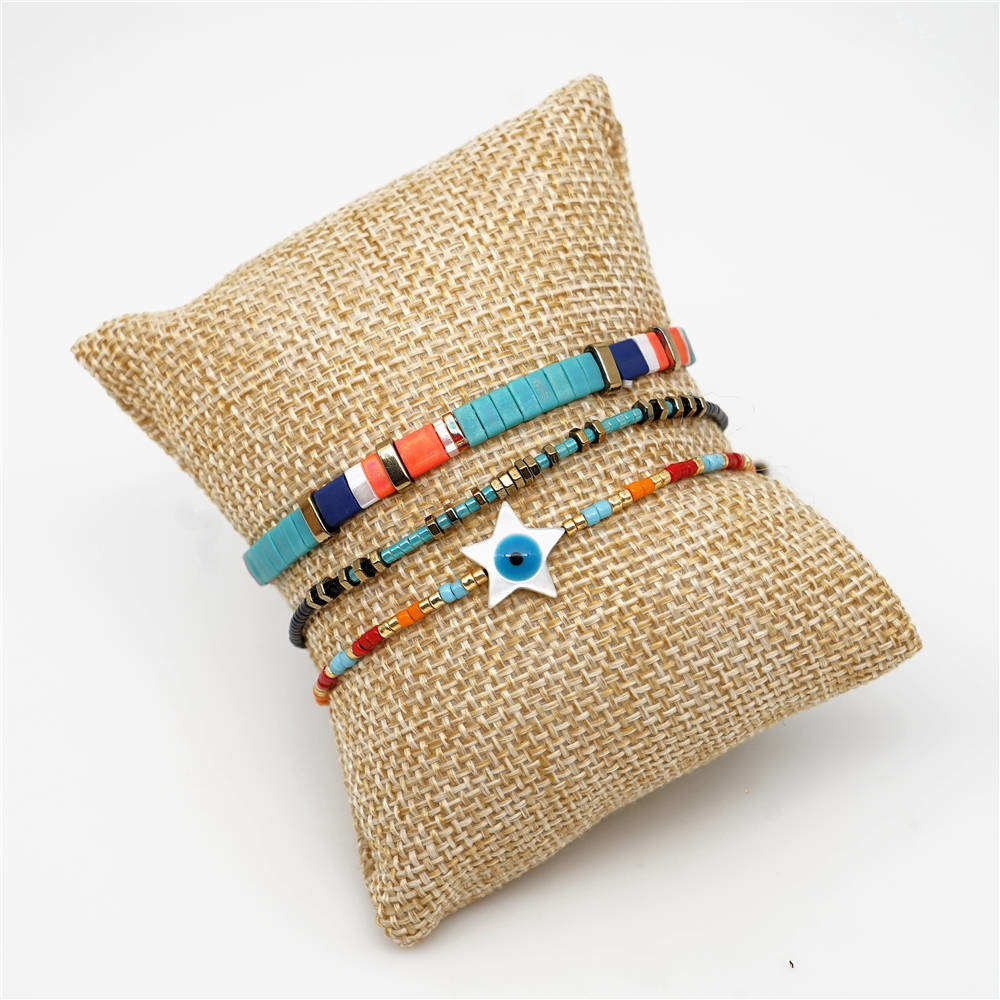 Shinus Tila Beads Bracelet Perles MIYUKI Turkish Evil Eye Bracelets Star Pulseras Mujer 2019 Women Summer Beach Jewelry Bijoux in Charm Bracelets from Jewelry Accessories