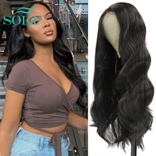 Body Wave Wig Lace Front Wig Middle Part Synthetic Wig With Baby Hair SOKU Natural Color Heat Resistant Hair For Black Women
