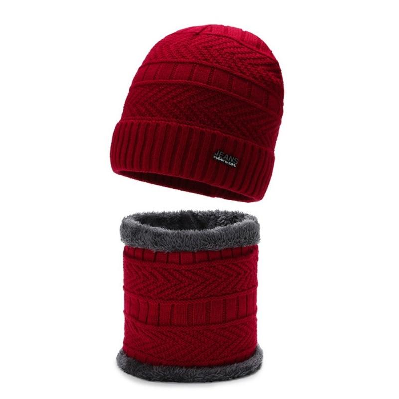 2pcs/set Men And Women Winter Knitted Beanie Hat Scarf Set Plus Velvet Warm Skullies Beanies Hat Neck Scarves Set