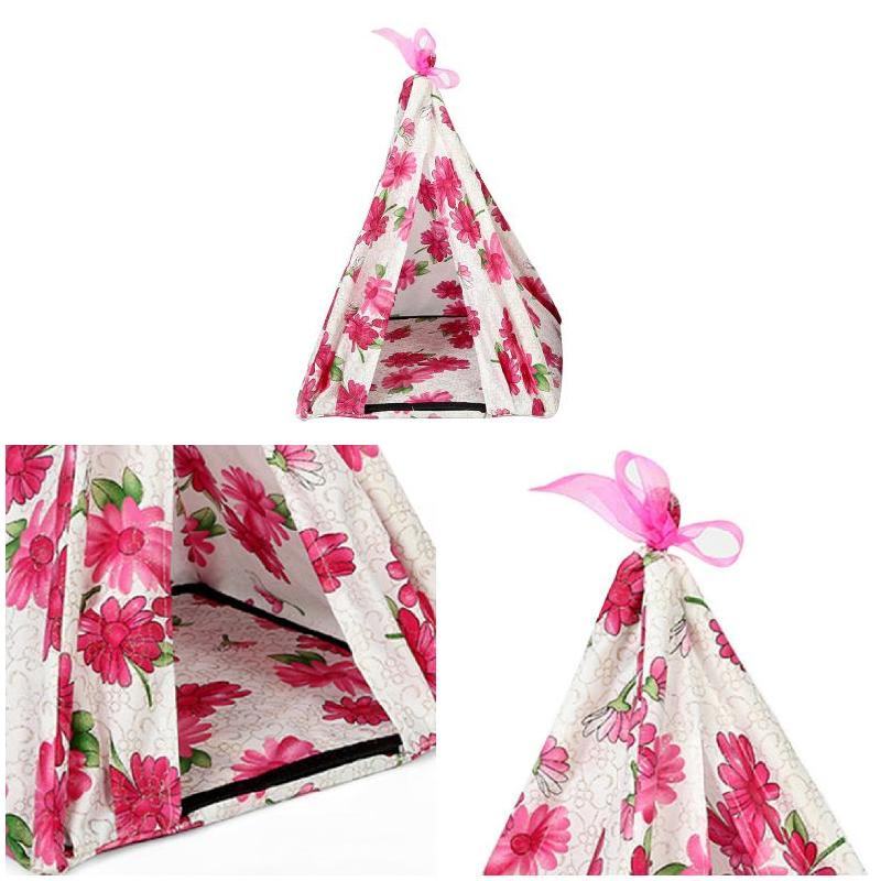 Купить с кэшбэком Newest 34*34*40cm Pet Teepee Dog Cats Bed Chrysanthemum Triangular Portable Pet Tents Houses