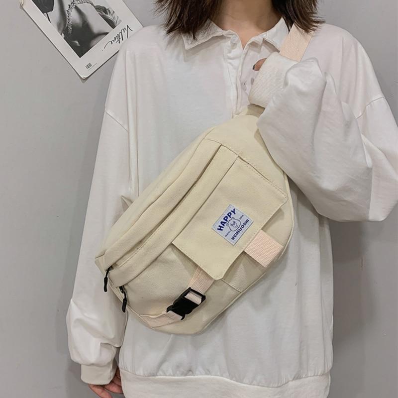 Unisex Waist Bag Fanny Pack Harajuku Street Style Hip Hop Bag Shoulder Bags Large Capacity Canvas Crossbody Pack Waist Packs