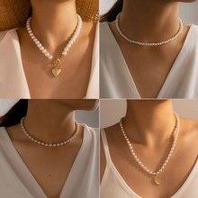 Huangtang corrente de ouro pérola coração pingente gargantilha colar para as mulheres collares declaração boêmio praia jóias presente collier barato