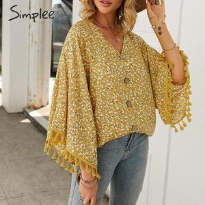 Image 3 - Simplee V neck bohemian button blouse shirt Women flare sleeve casual streetwear female blouse shirt Casual autumn tassel tops