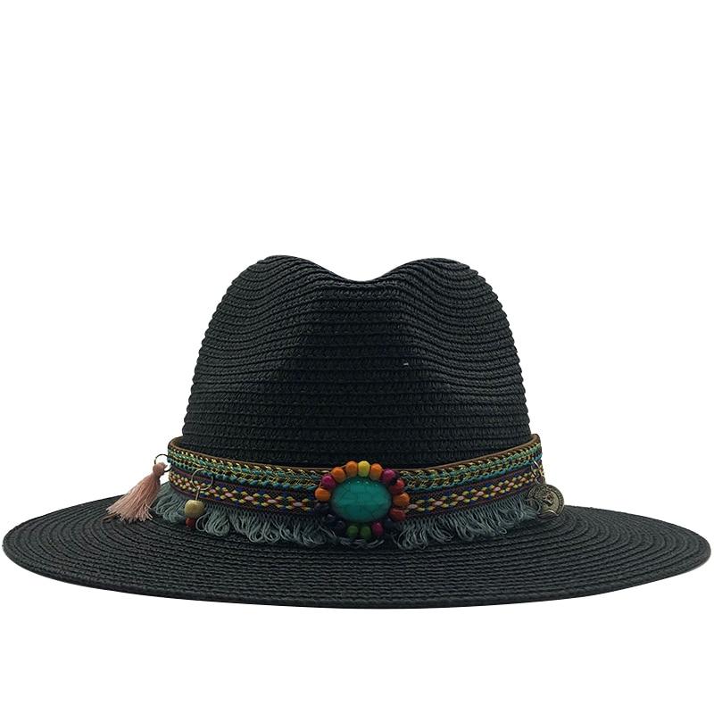 2020 New  Summer Women's Jazz Caps Hats For Men With Wide Birm Girl Straw Vintage Hat Floppy Sun Beach Church Cap Gorros