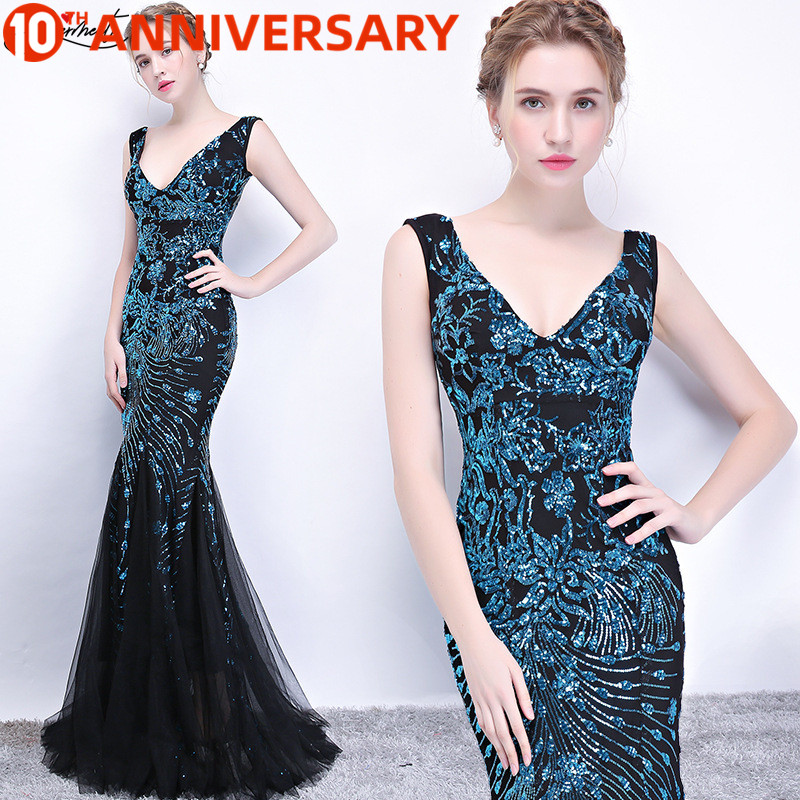 OLLYMURS Malachite Green Elegant and Elegant Long Fishtail Sequin Sexy Dress Suitable for A Dance Party Dating Nightclub
