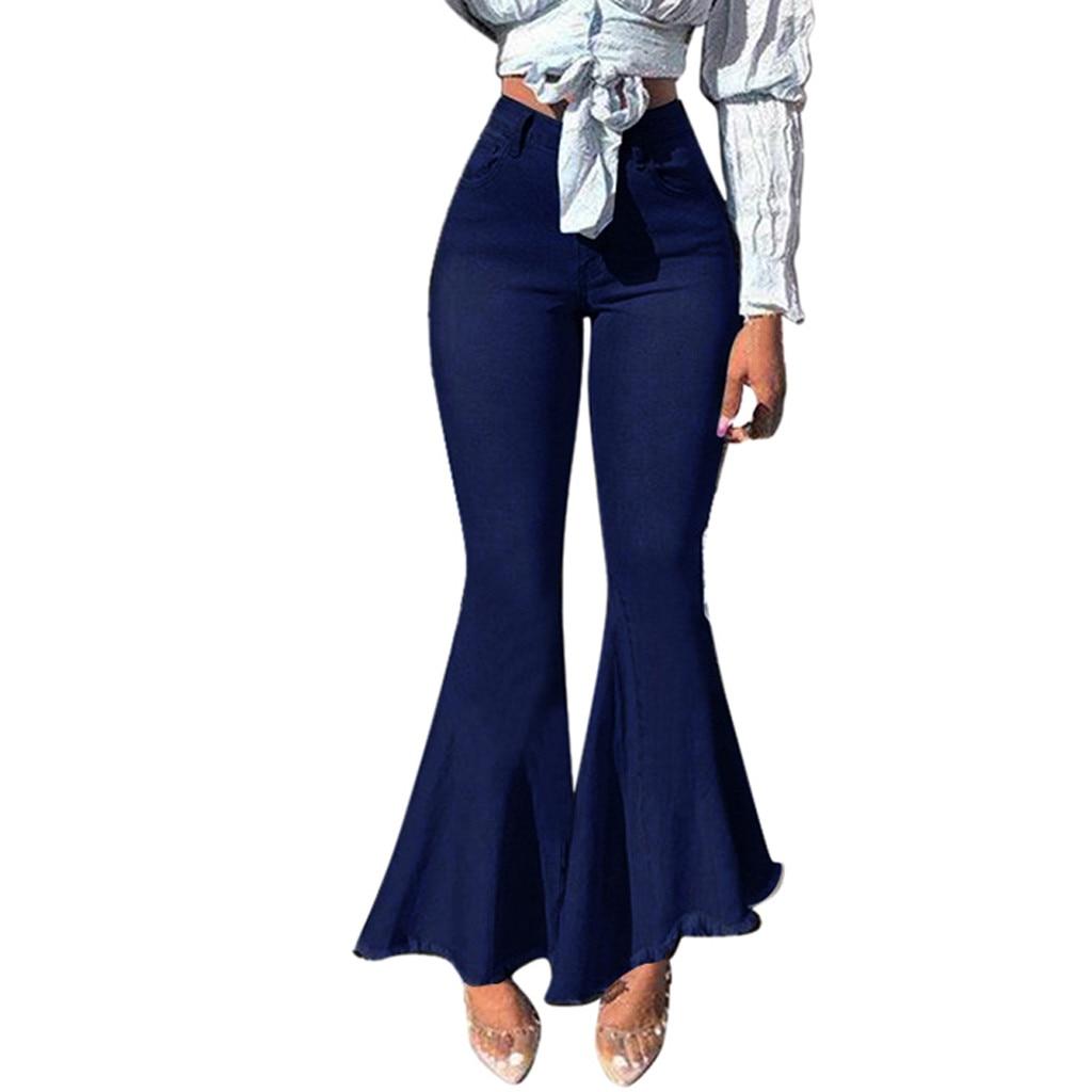 Elegant Women's Solid Button Zipper Pocket Jeans Casual Denim Flares Wide Leg Pants Wild Sexy Ruffles Trouser High Waist Lady
