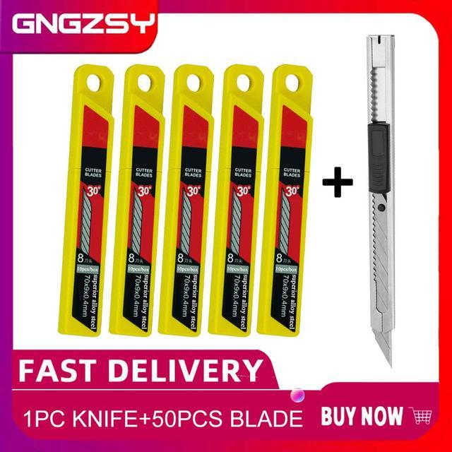 CNGZSY 1PC Snap Off סכין + 50PCS להבים נשלף אמנות קאטר חלון תיקון מגרד דבק ניקוי עיפרון נייר סכין E02 + 5E03