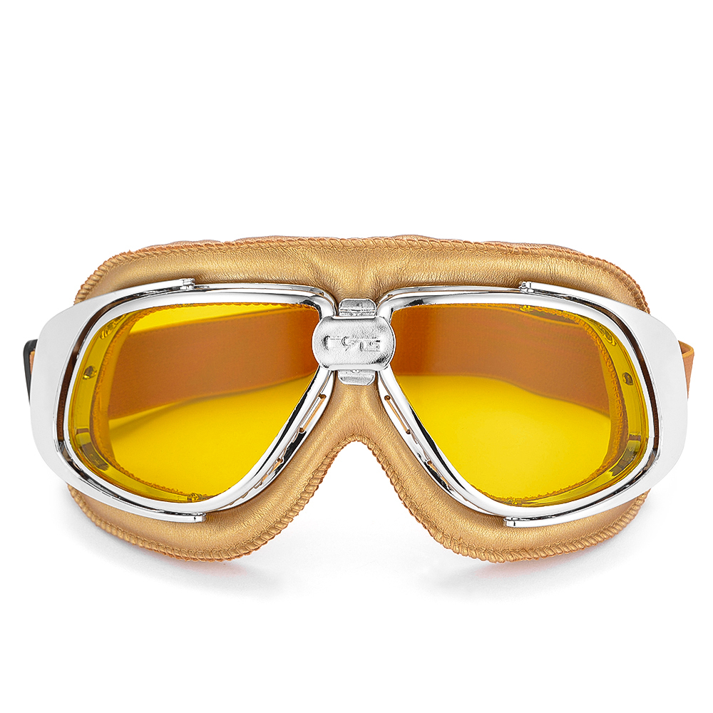 Vintage Motorcycle Goggles Retro Leather Goggles Glasses For Moto Bike Outdoor Jet Pilot Sunglasses 5 Colors