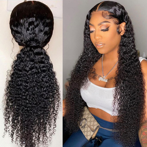 Curly Human Hair Wigs Natural Color Bleached Knots Brazilian Remy 13x6 Lace Front Human Hair Wigs With Baby Hair 150 Density Wig(China)