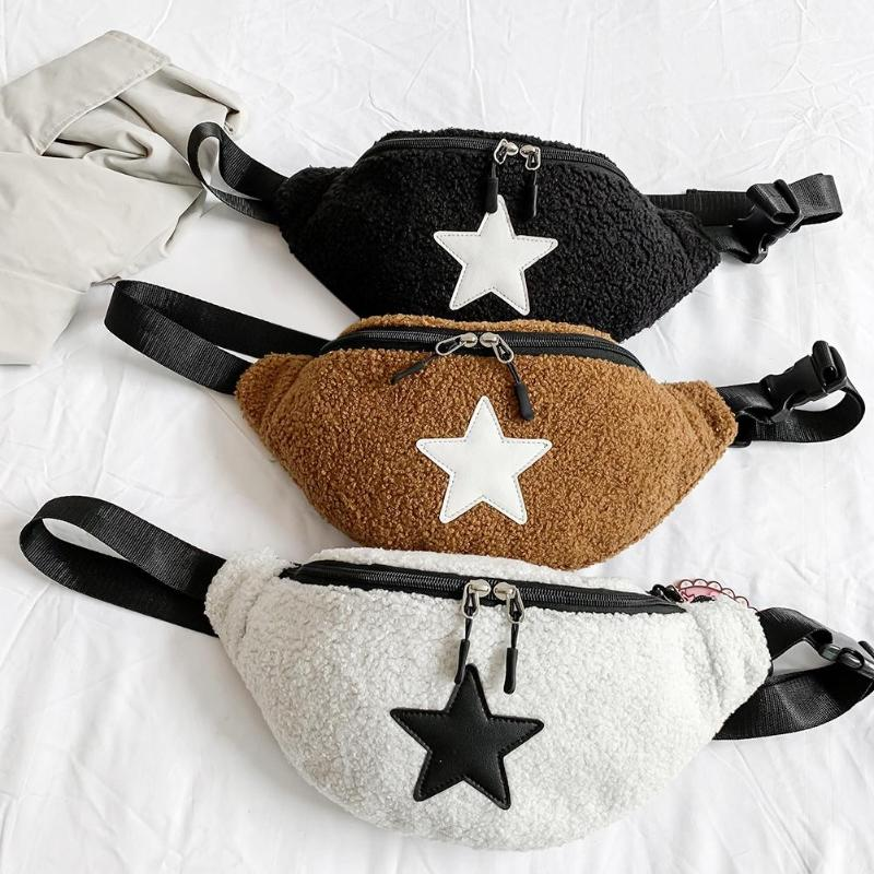 Fashion Plush Fanny Waist Pack Bag For Women Girls Autumn Winter New Zipper Phone Money Pouch Star Pattern Chest Crossbody Bags