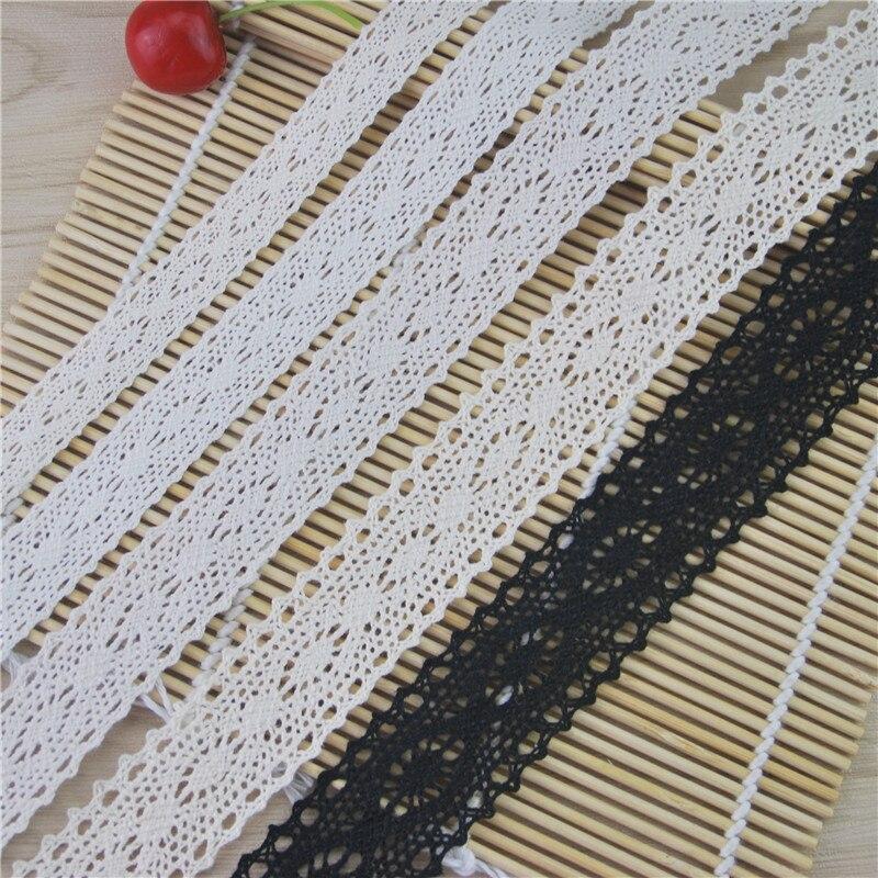Gros 15mm-30mm belle fleur motif dentelle de coton ivoire noir Net dentelle ruban bricolage dentelle tissu garnitures 1LOT LC004