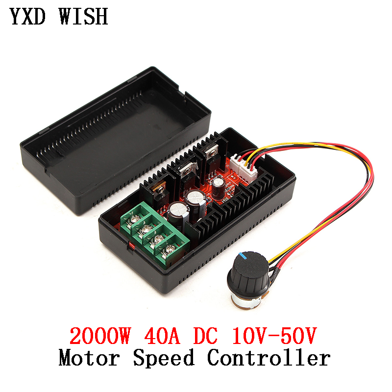2000W 40A DC Motor Speed Controller DC 12V 24V PWM HHO RC Car Fan Speed Regulator Adjustable Power Control Switch Soft Starting
