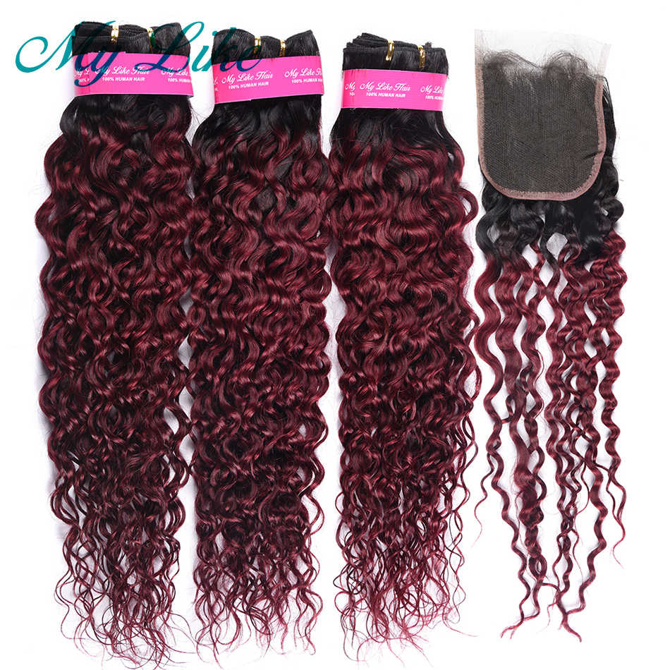 My Like Brazilian Hair Weave Ombre Bundles with Closure 1b/99j Red Burgundy Water Wave Human Hair Bundles with Closure Non-remy