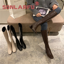 Square Toe Shorty Long  Women's  HighMid Heel Brown Slimming Knight Boots Autumn Basics  Fashion high-heeled shoes