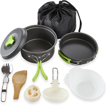 Outdoor Camping 11Pcs Cookware Set Hiking Backpacking Picnic Cooking Pot Pan Set Hiking Set Travel Pot outdoor picnic stainless steel hand bill of lading handle bento pot hiking pot camping barbecue cooking cookware picnic cookers