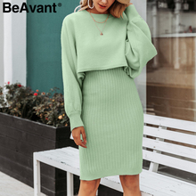 BeAvant Elegant 2 pieces women knitted dress Autumn winter ladies pullover work wear sweater suit Solid bodycon sweater dress