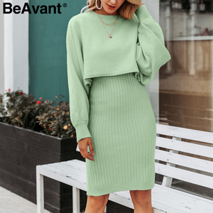 Image 1 - BeAvant Elegant 2 pieces women knitted dress Autumn winter ladies pullover work wear sweater suit Solid bodycon sweater dress