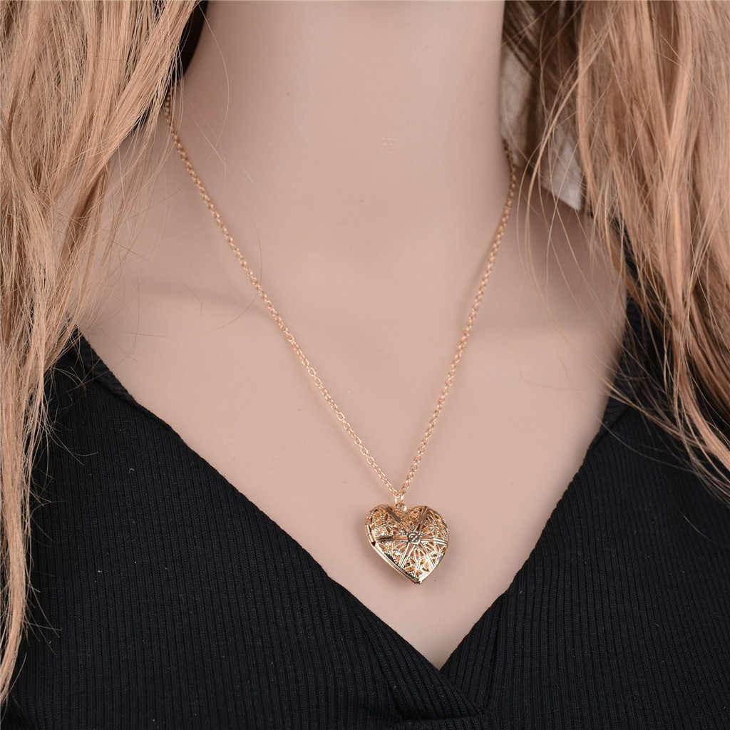 Necklace for Women Heart Photo Necklace Pendant Lady Jewelry Choker DIY Love Metal Necklace hollow Pendant Photo Frame Custom