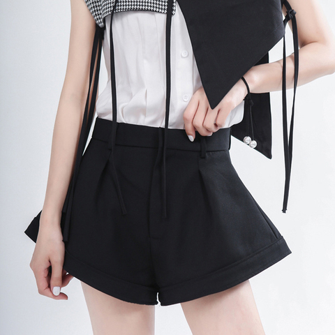 Shorts de Cintura Alta do Vintage Curtas para a Moda Casual Solto Camisa Feminina Alargamento Calças Roupas 2020 Primavera Outono Maré