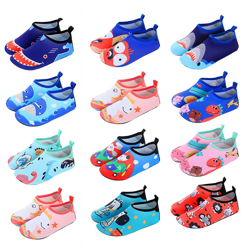 Children Quick Drying Swim Water Shoes Casual Footwear Barefoot LightWeight Aqua Socks For Beach Pool Cartoon Kids Slippers